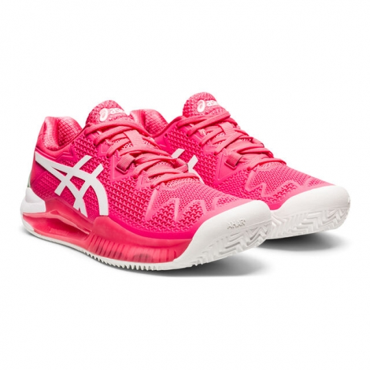 Asics Gel Resolution 8 Clay Court Pink Bele Ženske Patike za Tenis